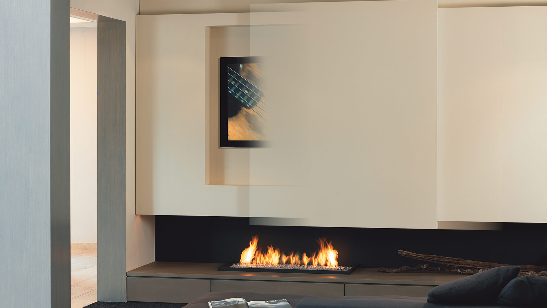 Fireplaces As Modern Home Centrepiece on Living Room With Fireplace And Flat Screen Tv