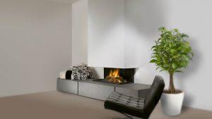 frameless bespoke fireplace