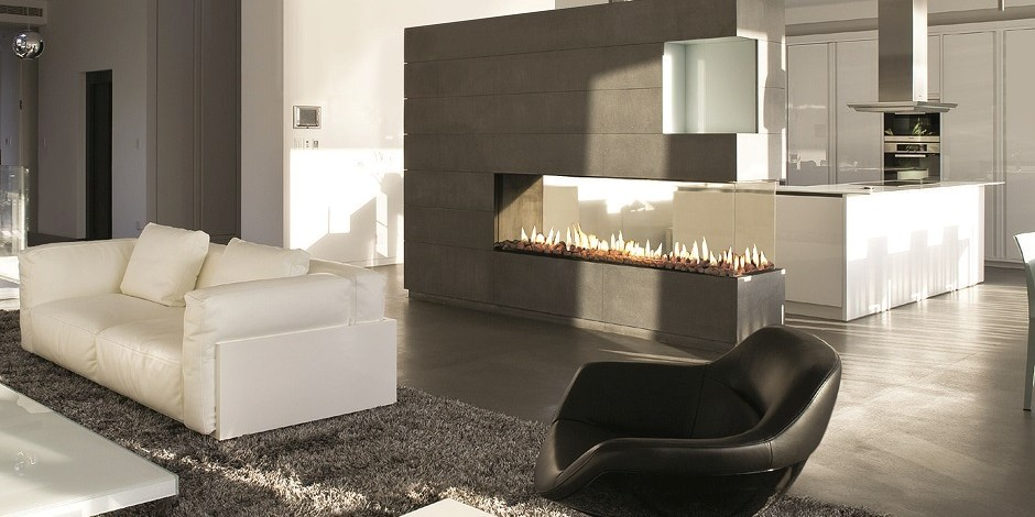 Open concept gas fire - wall fire - modern fireplaces - wall fire