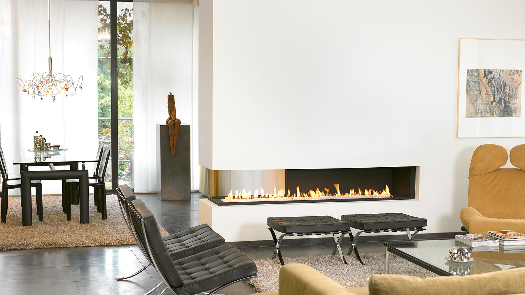10 stunning open fireplace design ideas for your home for Open sided fireplace