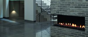 Corner fireplace design - wall fire - modern fireplaces
