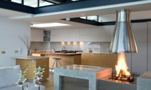 Kitchen Gallery with Open Fireplace