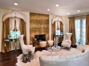 Gold gas fireplace - modern fireplaces - wall fire