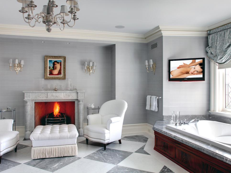 Luxury bathroom with gas fireplace