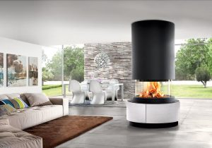Hanging fireplace design - modern fireplaces - hanging fire