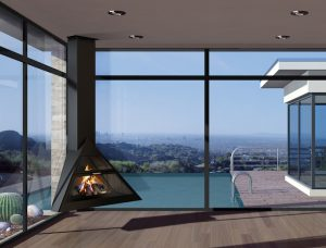 Minimal design for hanging fireplace - modern fireplaces - hanging fire