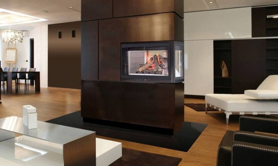 Modern Two-Sided Fireplace