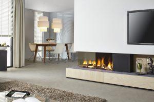 corner fireplace - wall fire - modern fireplaces