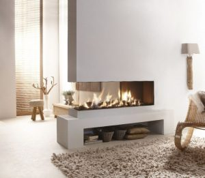 corner fireplace unit - modern fireplaces - wall fire