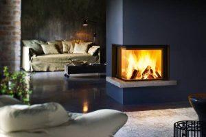 dark corner fireplace - wall fire - modern fireplaces