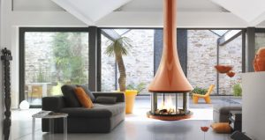 designer fireplace - modern fireplaces - hanging fire