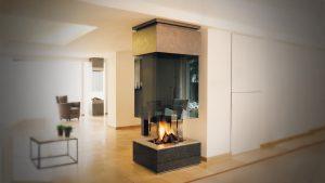 corner hanging fireplace - modern fireplaces
