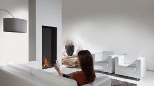 anti reflective gas fireplace - modern fireplace - wall fire