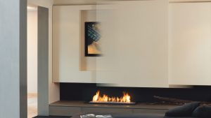 gas fireplace with a media wall - modern fireplaces