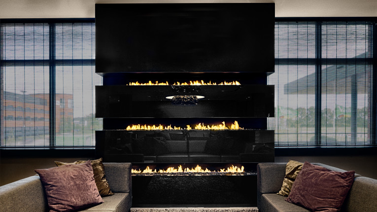three level bespoke fireplace