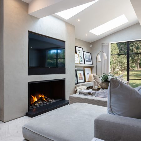 Designer Modern Fireplace - Open Fireplace under TV