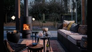 Outdoor Wood Fireplace with furniture