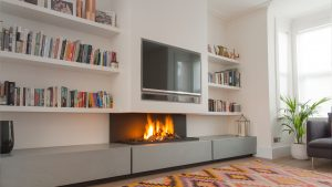 Re-discovering our roots - modern fireplace - wall fire