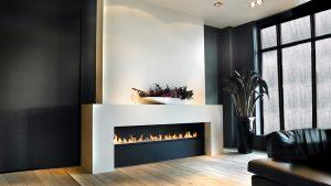 bespoke linear fireplace - wall fire - modern fireplaces
