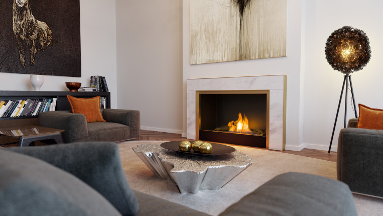 white-and-gold-panels - wall fire - modern fireplaces