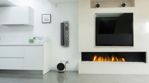 The Glass Cover - hanging fireplace - wall fire - modern fireplaces
