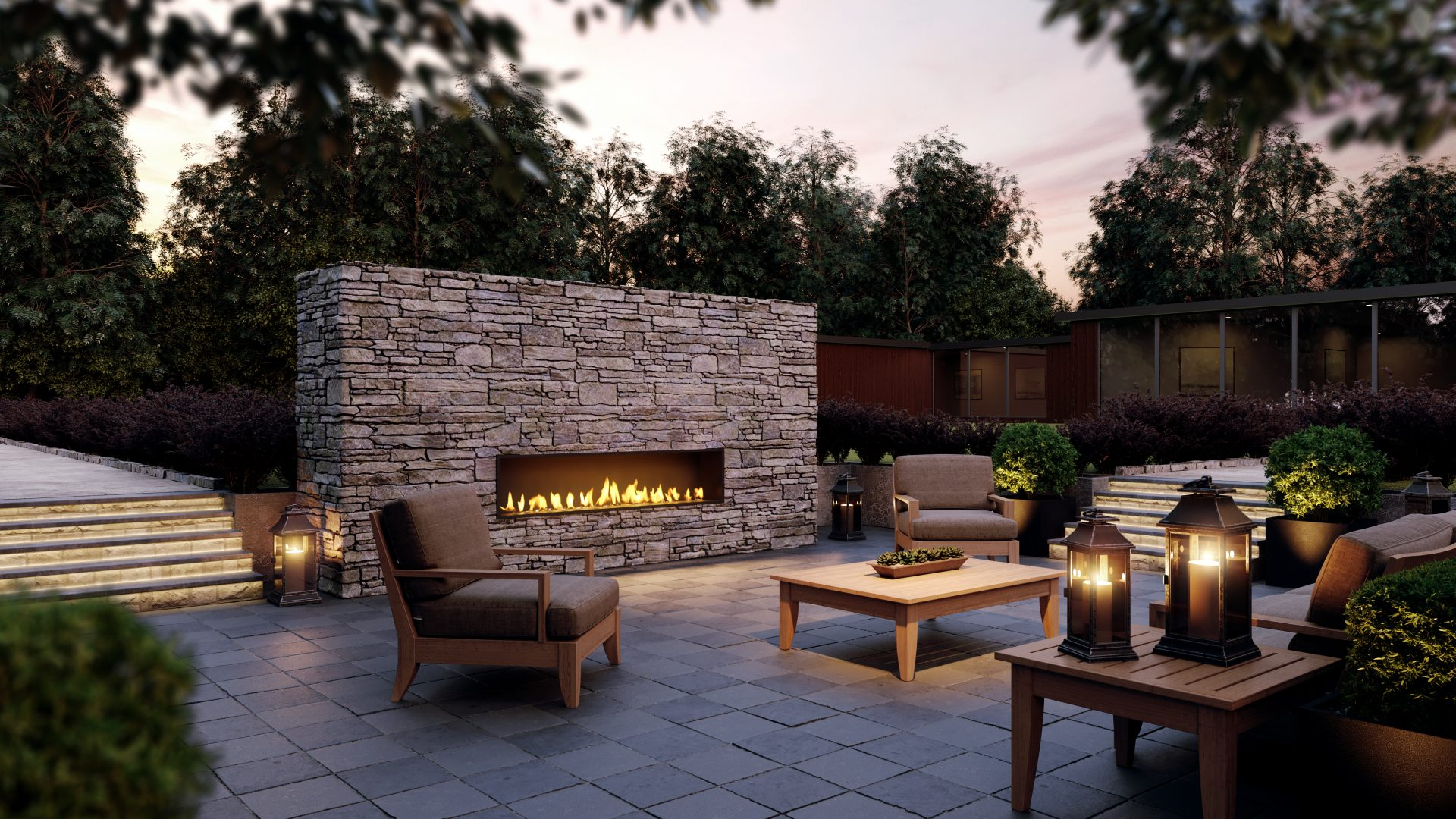 outdoor fireplace - modern fireplace