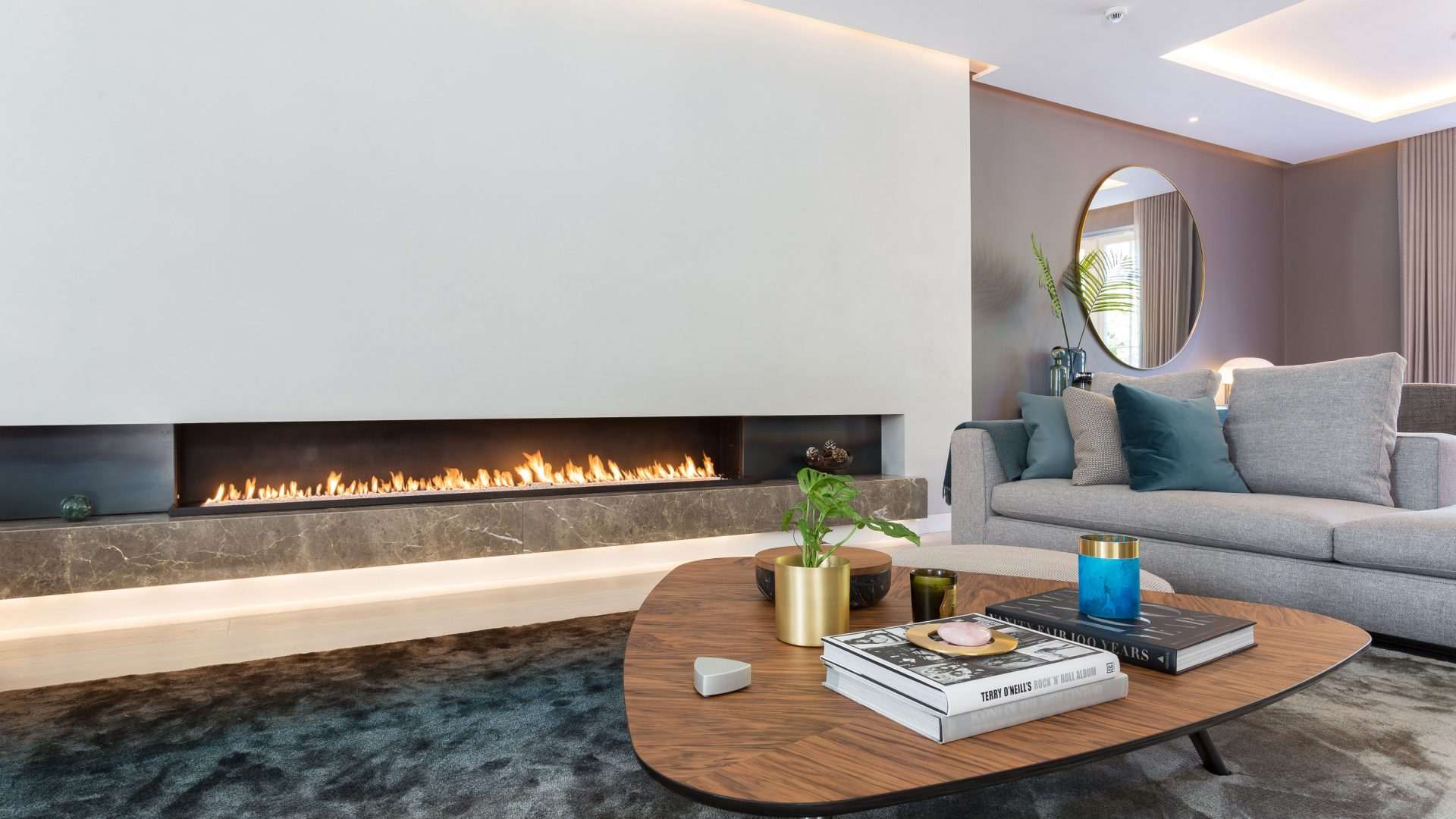 modern bespoke gas fire - modern fireplace - wall fire