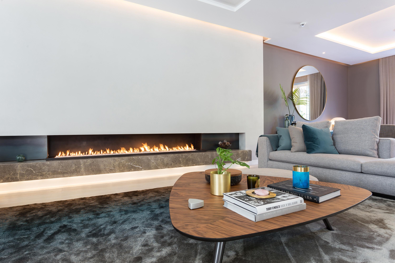 modern bespoke gas fire - modern fireplace - wall fire
