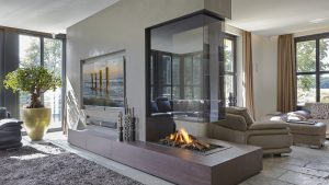 Corner Open Hanging Fireplace