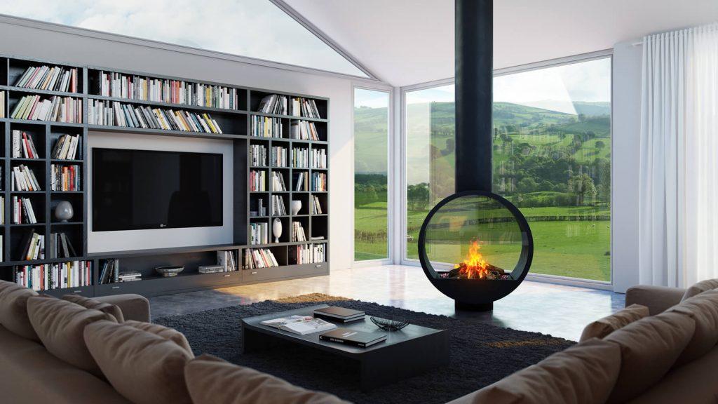 Glass Gas Fireplace