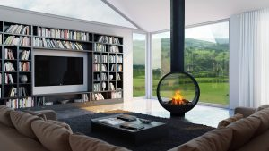 Glass Open Hanging Fireplace
