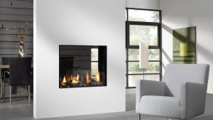White Wall - Double Sided Fireplace - Wood Fireplace