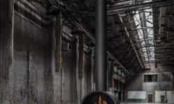 Circular hanging fireplace - wood fireplace