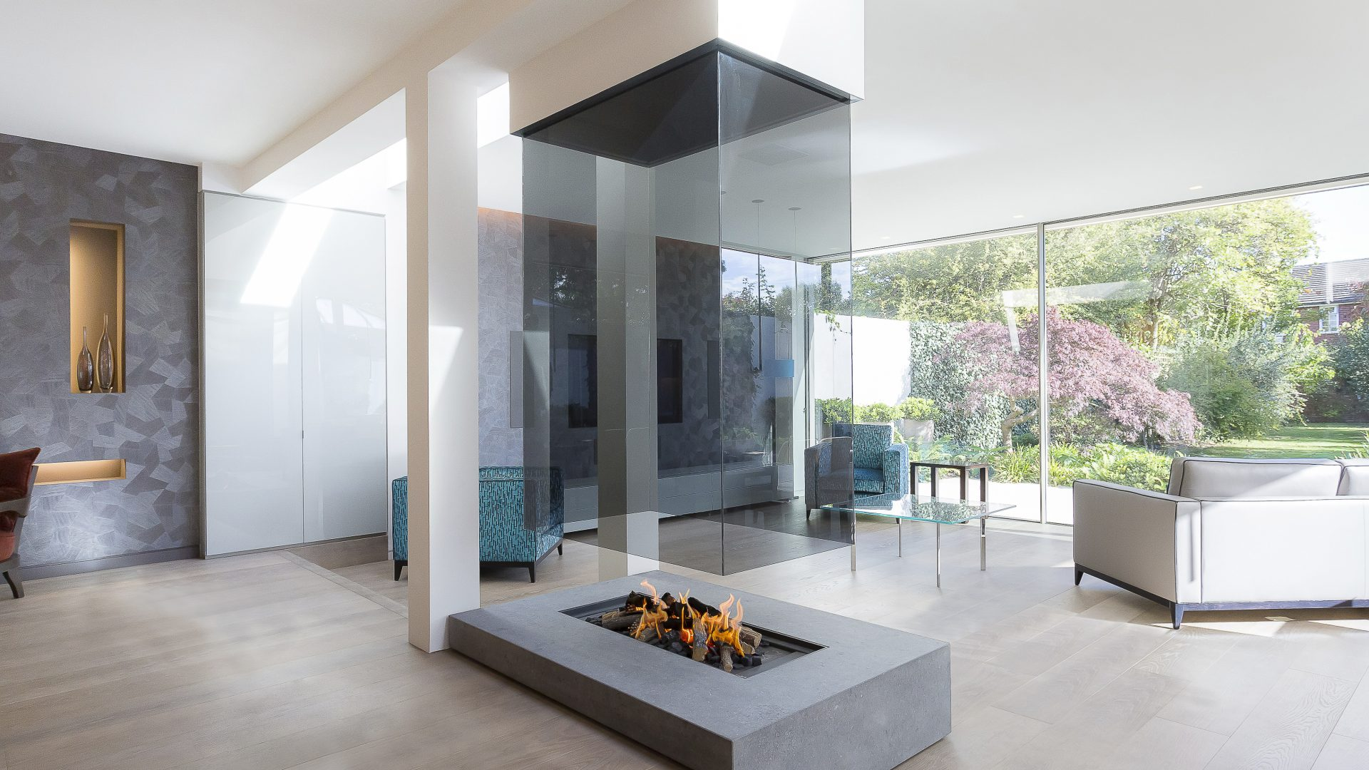 Suspended Glass Open Fireplace