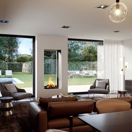 Modus Fireplaces - Double Sided Fireplaces - 850T Indoor & Outdoor Fireplace built into external wall
