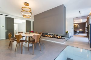 wall fire - modern fireplace