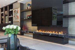 Open black wall fireplace