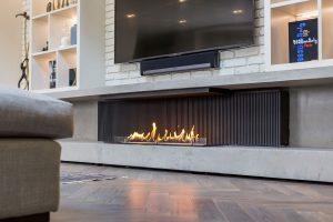 Modern Open Fireplace under TV