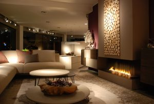 Open Wall Fireplace in Living Room