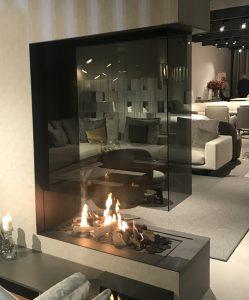 Open Fireplace in Showroom